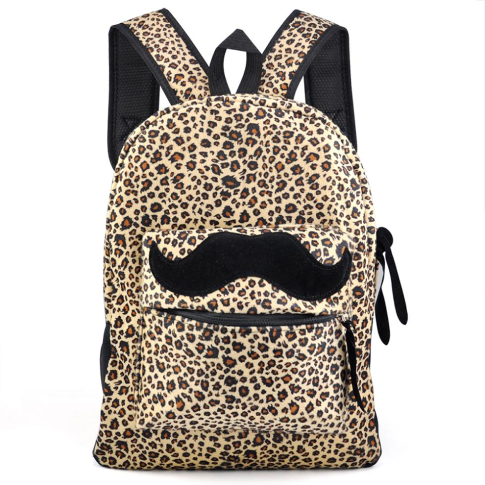Get Quotations · Reto Womens Canvas Mustache Backpack Shoulder Bag Mens  Leopard Rucksack Satchel d8e7a9f0192a2