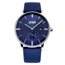 SKMEI 9083 New Arrival Men Sports Luxury Genuine Calf Leather Watches Business And Casual Quartz Wristwatch With Auto Date