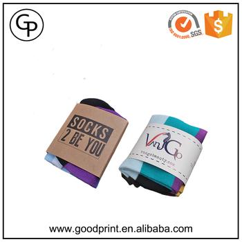 wholesale custom fancy logo printed sock packaging sleeve buy sock
