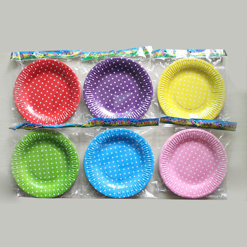 Bunte dot gelb party runde pappteller hochzeit kuchen for Bunte pappteller
