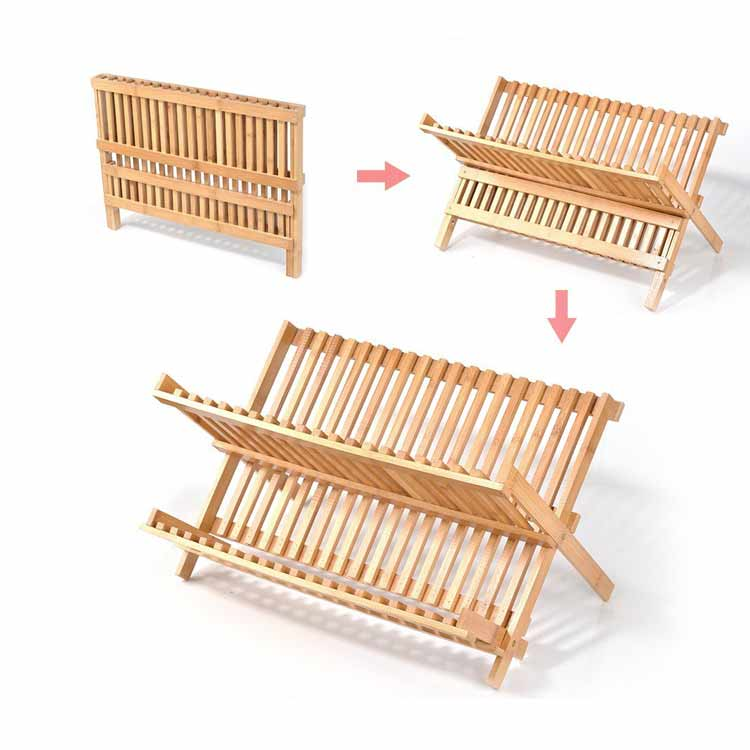 Factory Supply Wood Bamboo Collapsible Dish Rack Wholesale 11