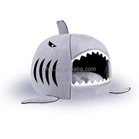 Grey Shark Bed for Small Cat Dog Cave Bed Removable Cushion,waterproof Bottom
