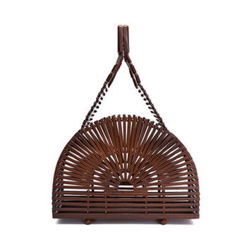 handmade stylish bohemian hollow women round purse tote bamboo handbag woven beach bag