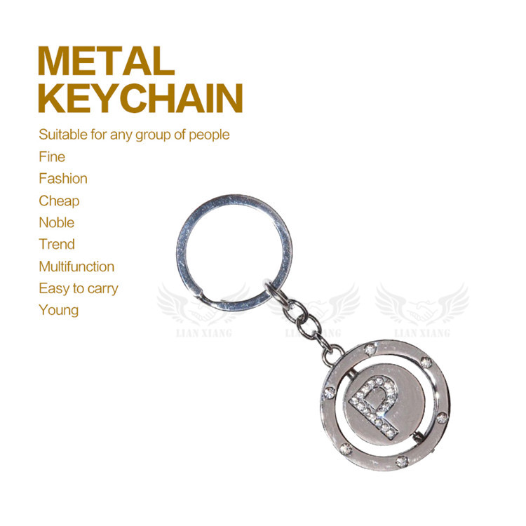 Hot Sale Metal Crystal Letter Hotel Keychain Key Ring With Logo
