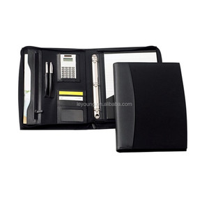 PU Leather Personalized 3 Ring Binder Portfolio with Calculator