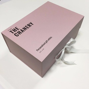 Custom white /pink folding paper luxury made box with ribbon packaging box custom logo gift