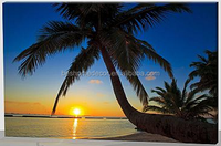 seascape canvas led pictures, palm tree canvas lighted wall art