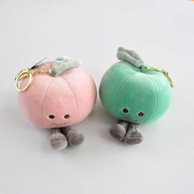 Grosir Kustom Lucu Apple Peach Buah Plush Toy Mini Boneka Gantungan Kunci Buah Plush