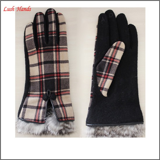 Ladies pigsuede rabbit fur cuff grid fashion gloves manufacture in China
