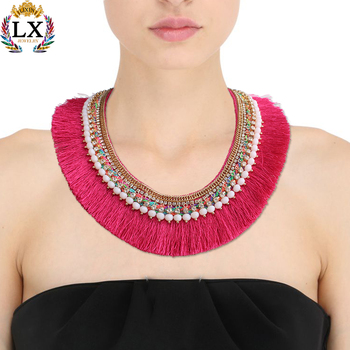 NLX-01027 fabric tassel necklace handmade collar fringe necklace ethnic fuchsia with pearl