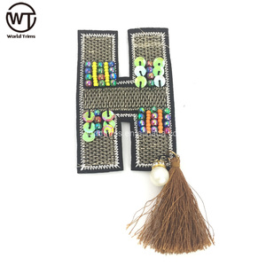 Hand made letters beads patches embroidery with tassel