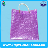 purple shiny clothing shopping plastic tote drawstring gift bag