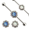 Free Sample Body Piercing Jewelry 14G White Blue Opal Flower Industrial Barbell Piercing Jewelry