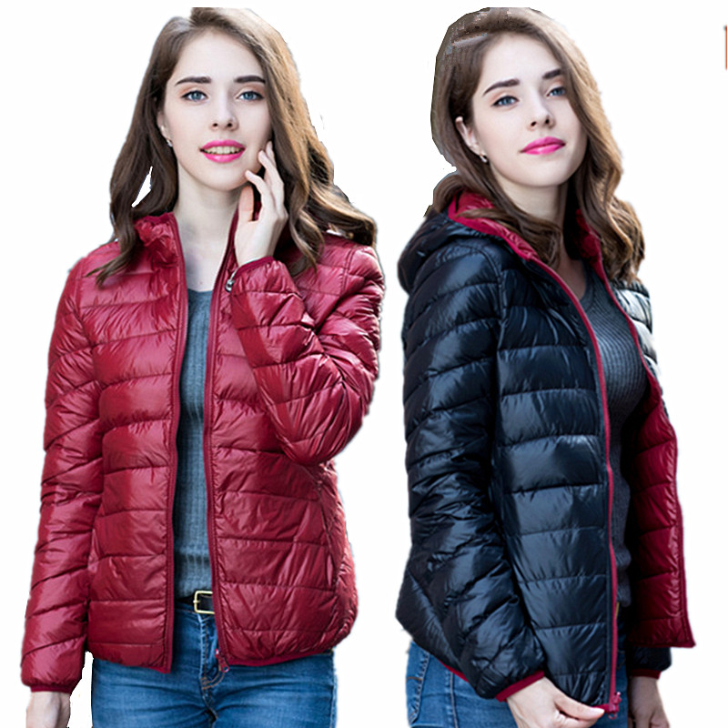 Ladies Crane Custom Reversible Bomber Down Hoodies Jacket for women