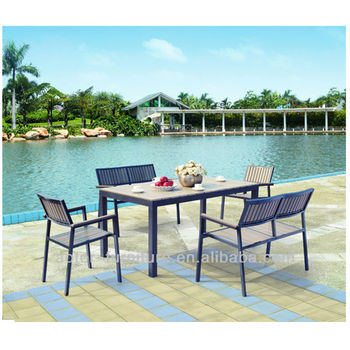 2016 latest wooden plastic waterproof outdoor garden furniture set