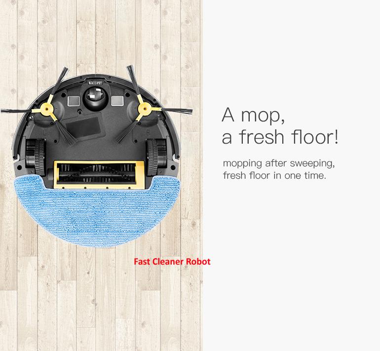 2019 ใหม่ล่าสุดกล้องวิดีโอตรวจสอบแผนที่นำทางเครื่องดูดฝุ่นหุ่นยนต์ที่มีการควบคุมแอพมือถือ, ถังเก็บน้ำ, หน่วยความจำสมาร์ท