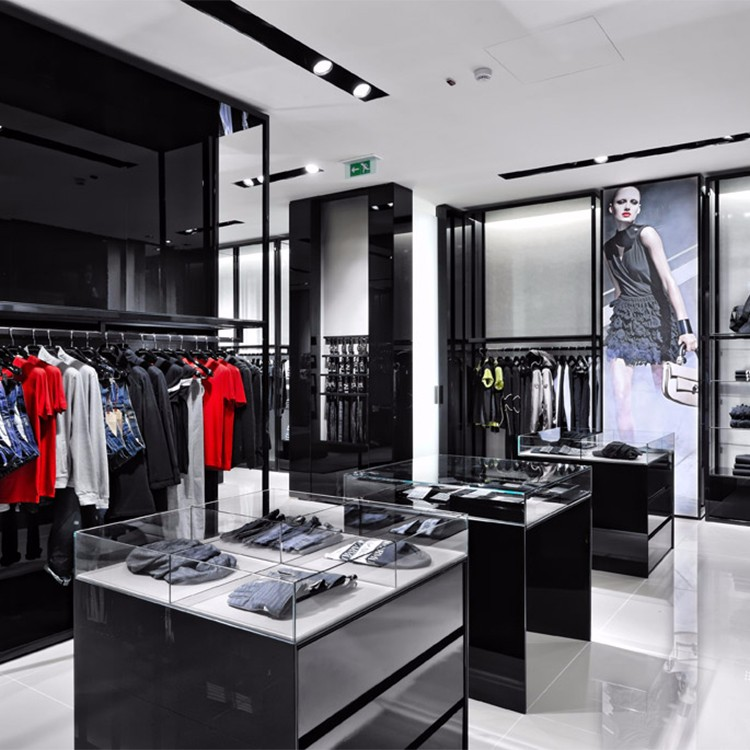 Customized retail luxury glass clothing store showcase for for Retail furniture