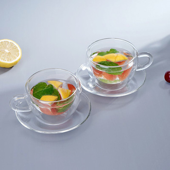 Reusable Drinkware Glass Double Layer Tea Cup With Saucer Double Wall Glass Coffee Cup