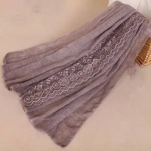 Hot selling Middle East style scarf hijab women plain pashmina cotton lace scarf shawls