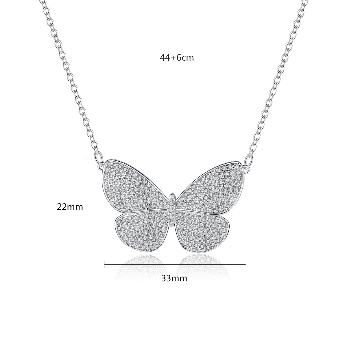 Fashion cubic zirconia butterfly necklace jewelry women