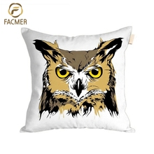 Wholesale Best Selling Home Fabric Digital Print decorative Cushion Cover Owl car seat Pillow Case Cover