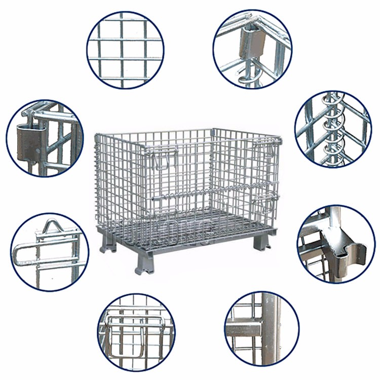 Triangle Bending foldable galvanized wire mesh box pallet