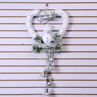 popular Christmas greeting heart cute snowman hanging with 5 Bells for window decoration