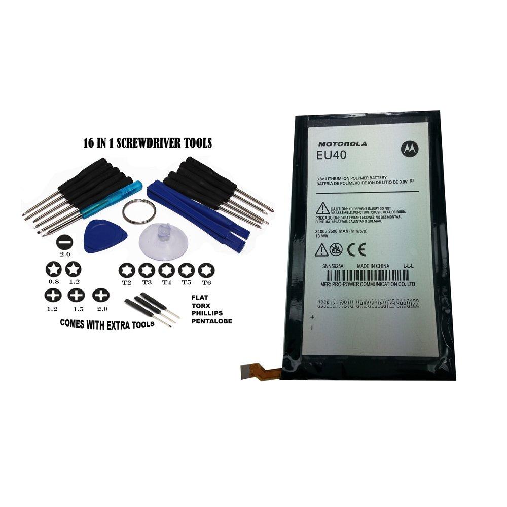 OEM Motorola Battery EU40/SNN5925A 3400/3500mAh 3.8V 13Wh for Motorola Droid MAXX XT1080M Comes with Tools Non-Retail Packaging