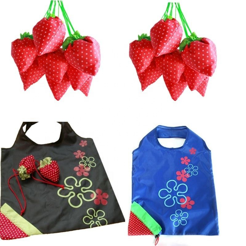 Cheap Fashion Reusable Folding Strawberry Shopping Bag