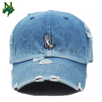 3c8b4e0bea43f Promotional Price Denim Baseball Cap Custom Embroidery Logo Dad Hats Low  Profile Distressed Denim Dad Caps
