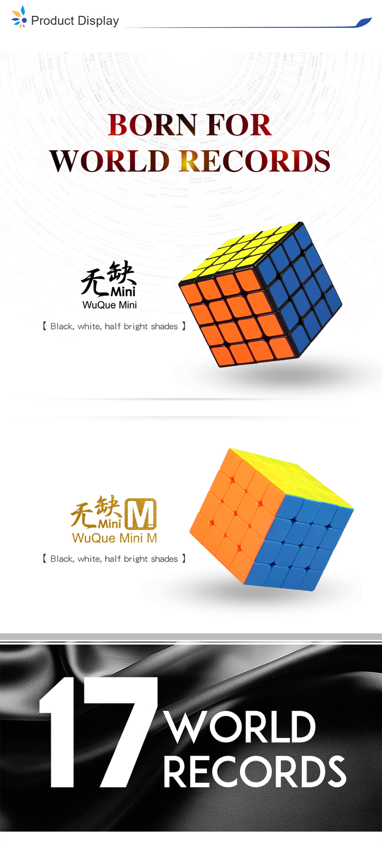 Smaller size 4x4 Wuque qiyi mini rotating speed cube oem with ABS material