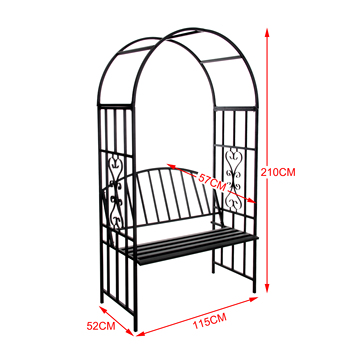 Steel Garden Arch With Seat For 2 People Arbor Various Climbing Plant
