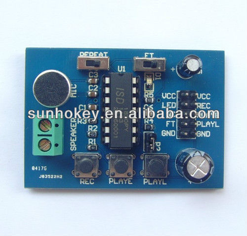 ISD1820 Voice Board Voice Module Voice Recording Module (On-board microphone)