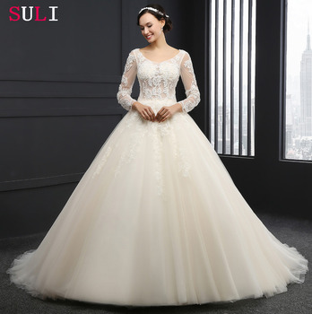 SL-3001 Elegant Long Sleeve Tulle Lace Appliques Beaded 2016 Wedding Dress