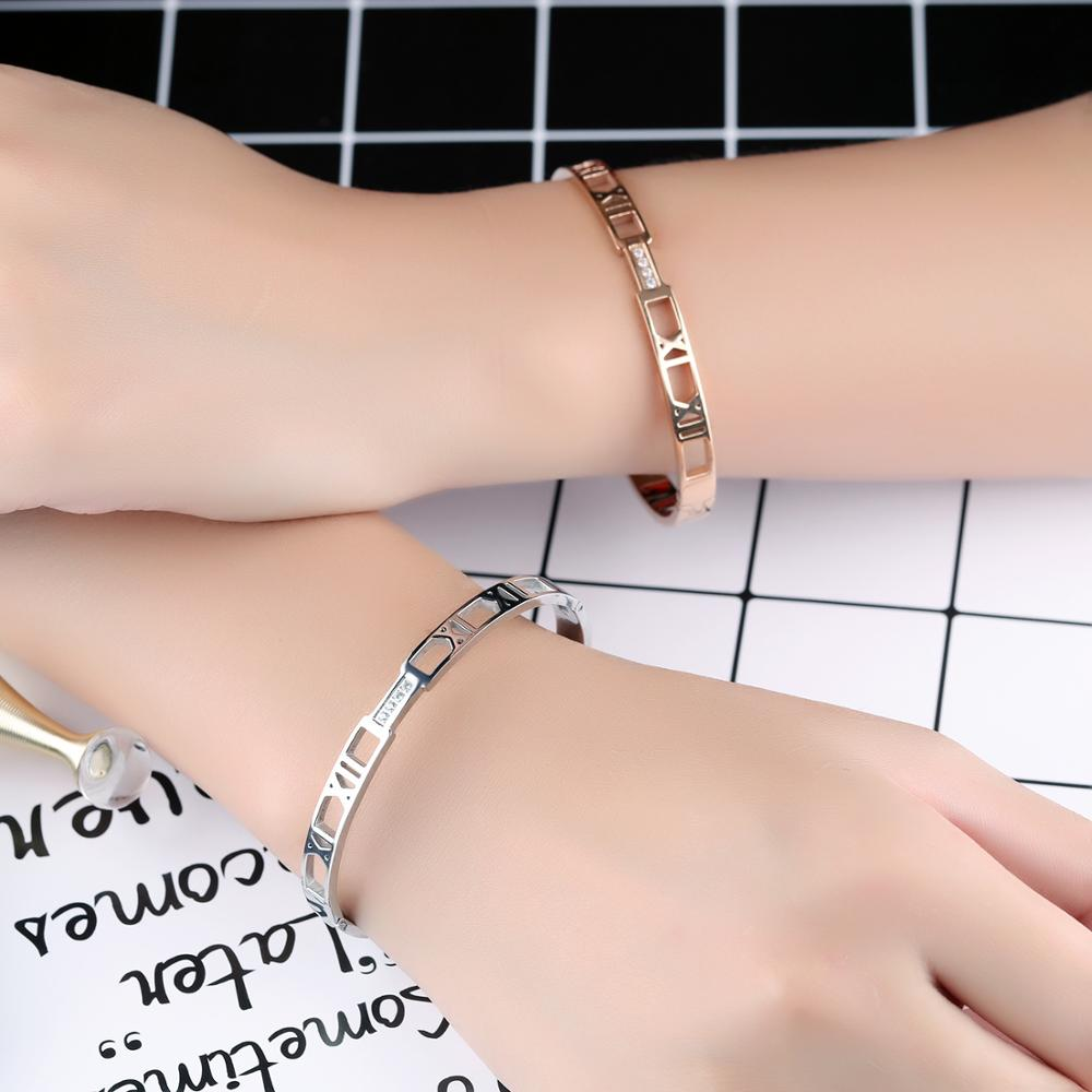 Wholesale Fashion Women Rose Gold Stainless Steel Geometric Bracelet