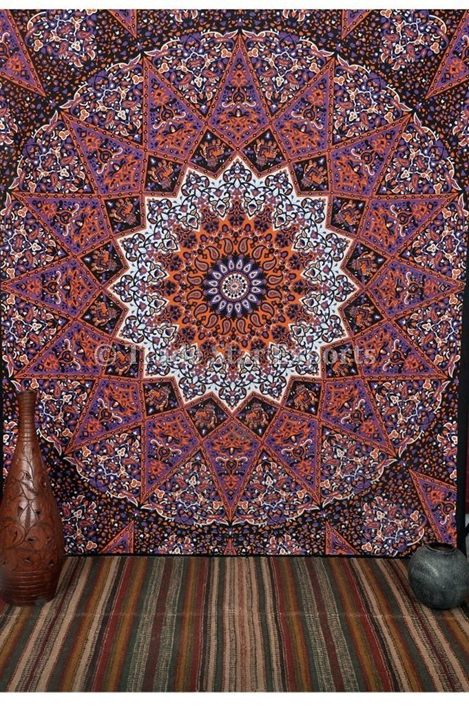 Get Quotations · TSE Indian Star Mandala Tapestry, Queen Size Hippie Wall  Décor, Paisley Print Bohemian Bedding