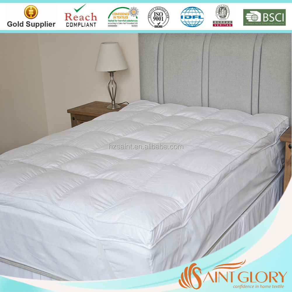 Queen Size Mattress Topper Super Soft Microfiber Mattress Pad With Rubber Band
