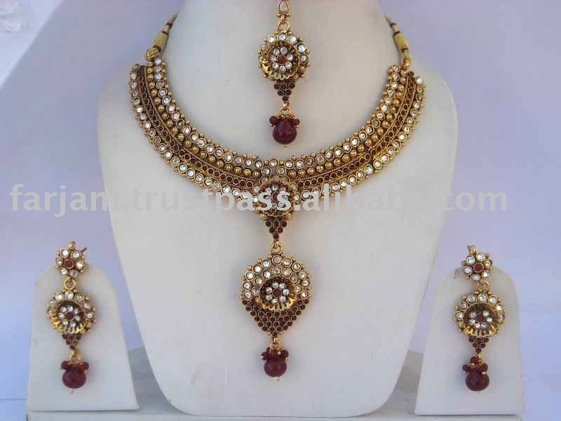 INDIAN DESIGNER BOLLYWOOD POLKI JEWELRY/JEWELLERY SET