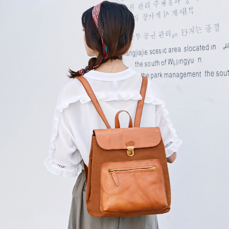 canvas School bag custom wholesale student backpack for teenagers High Quality Canvas  simple  PU leather fashion backpack