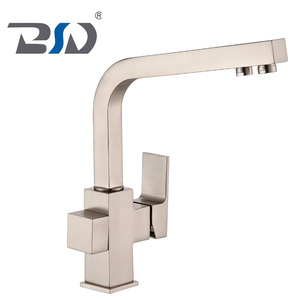 New Brushed Nickel Surface Square Design Three Way RO Purified Water Kitchen Sink Faucet