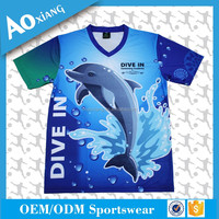 Full sublimation sea world 100% polyester dry fit tshirt for aquatic