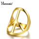 Hot selling Brand New Gold Color Hollow Out Rings For Woman Peace Symbols Finger Rings Female Geometric Size 7 8 9 Finger Ring