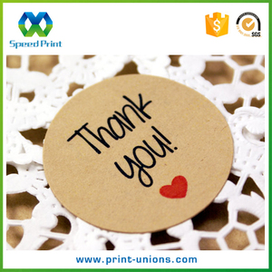 Adhesive thank you labels roll brown kraft paper custom sticker