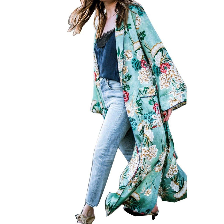Snowfoller Clearance! Sexy Summer Cardigan, Women Bohemian Floral Tassel Long Loose Shawl Kimono Nightgown Beach Coat Tops