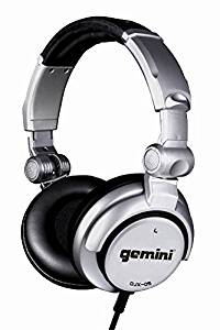 Gemini DJX Series DJX-05 Professional Audio Collapsible Lightweight DJ Headphones with 50mm High-Output Drivers and 4.5ft. Tangle-Free Cable, Silver