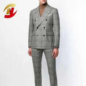 Professional Numerous Buttons Breathable Business Man Tartan Suit