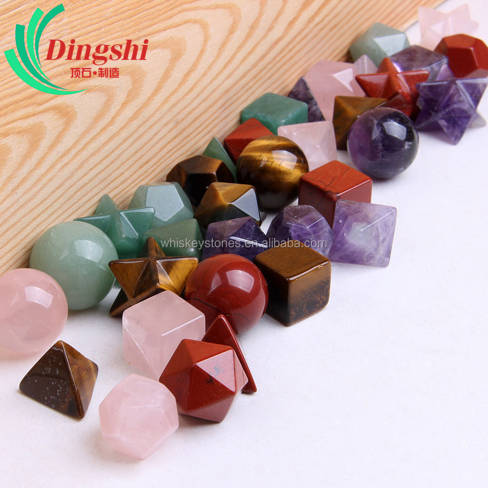 Wholesale Natural Tumbled Gemstones Craved Sacred Geometry Sets