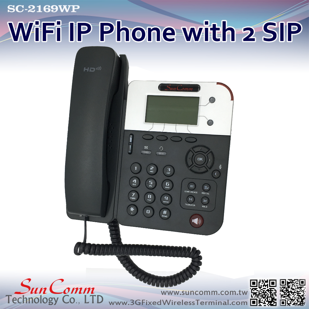 SC-2169WP for office use with 2 SIP accounts 1 WAN 1 LAN Desktop WiFi Phone