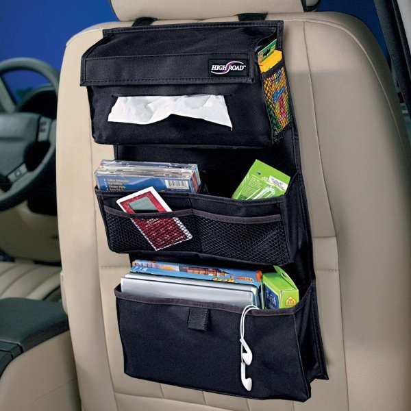 car auto front or back seat organizer holder multi pocket travel storage bag black color