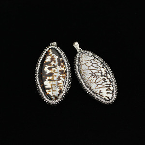 PC1614 2016 New crystal pave leopard skin agate marquise eye pendants